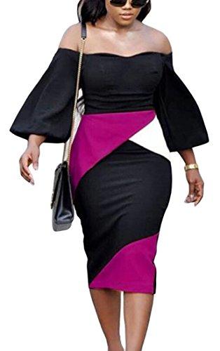 Femmes Domple Est Hors Du Bloc De Couleur Élégante Épaule Boîte De Nuit Longue Robe Moulante Rose