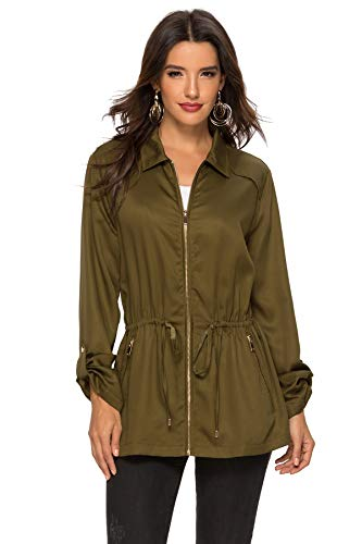 Escalier Women's Military Anorak Safari Jacket Pockets with Drawstring Green XL