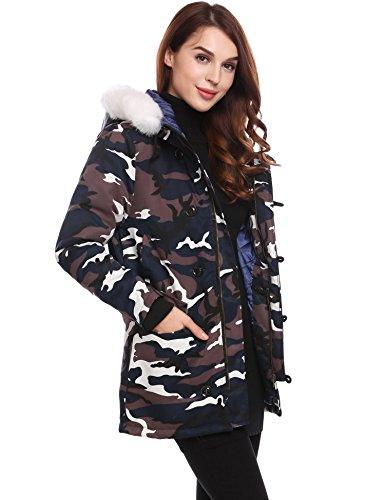 À Soteer Fourrure Hiver De Chaud Style Camouflage Bordée Fausse Bleu Veste Capuche Femme Militaire qUU8rt