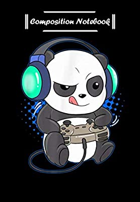 Composition Notebook: Mens Cute Gaming Panda Video Game Computer Player Videogame PC, Journal 6 x 9, 100 Page Blank Lined Paperback Journal/Notebook