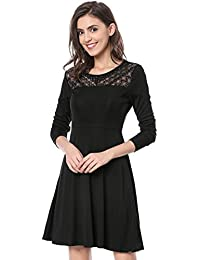Womens Lace Panel Vintage Cocktail Party Flare Skater Dress