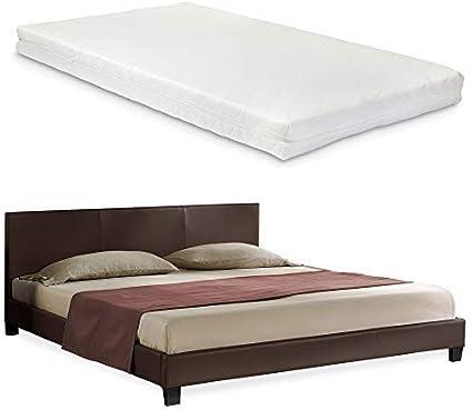 Corium] Cama de Cuero sintético Moderna (Barcelona) - con [Neu.Haus] colchón de Espuma fría (180 x 200) (marrón Oscuro)