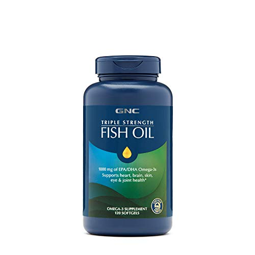 (GNC Triple Strength Omega 3 Fish Oil 1000mg, 120 Count, Supports Joint, Skin, Eye, and Heart Health)