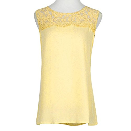 Mode Vest Shirt Casual T JIANGfu Mode Chemise Pleine Manches Gilet Dentelle Jaune de sans en Mousseline T Sexy sans Casual Femmes Soie Shirt Dbardeur Manches wHgwf0