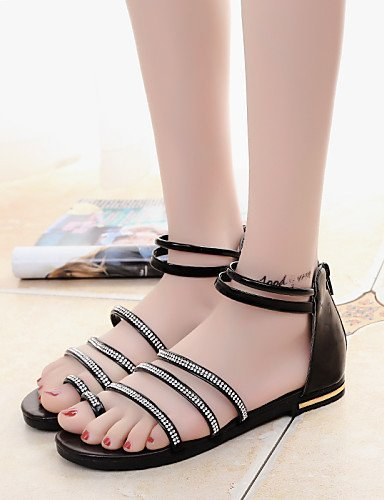 ShangYi Women's Shoes Leatherette Flat Heel Novelty Sandals Dress / Casual Black / Silver Black X2Efb