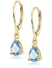 18k Gold Plated Sterling Silver Pear Baby Swiss Blue Topaz Lever Back Drop Earrings