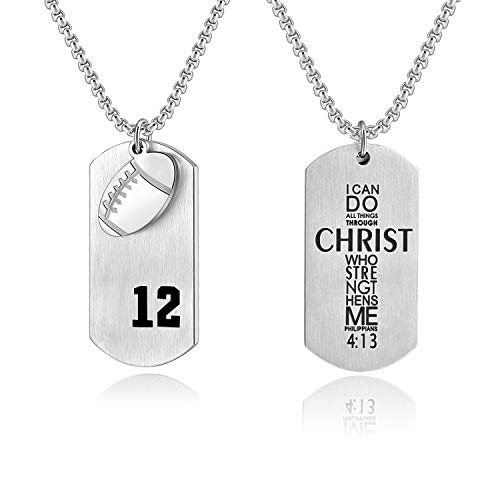 (VI.SPORT Football Dog Tag Player Number 12 Necklace Christian Inspiring Pedant Philippians 4:13 Jewelry (Silver))