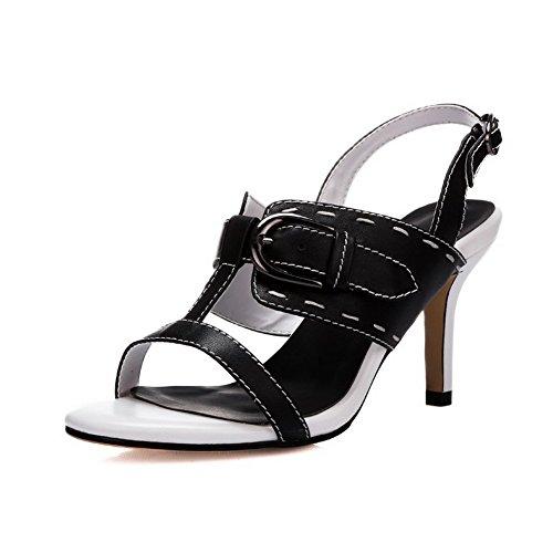 Open Black Solid Sandals High Heels Toe AalarDom Material Soft Womens Buckle HwPPYqvC