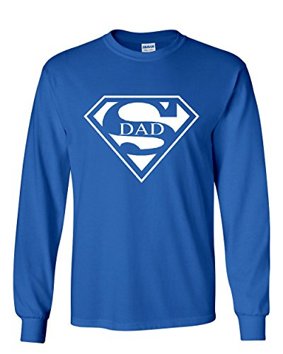 Super Dad Long Sleeve T-Shirt Funny Superhero Father's Day Royal Blue 4XL for $<!--$24.19-->