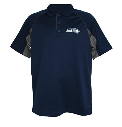 NFL Team Apparel Seattle Seahawks Adult Large Performance Polo Shirt - Navy Blue & Gray