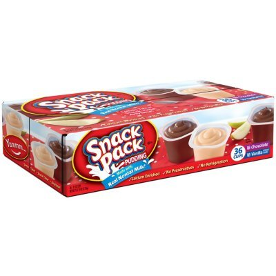 Hunts- Snack Pack Pudding, 3.25 oz, 36 Cups Variety Pack