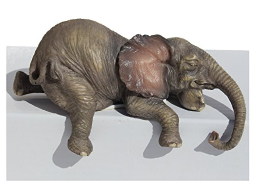 (Baby Elephant Laying Down Lounging Shelf Sitter 4