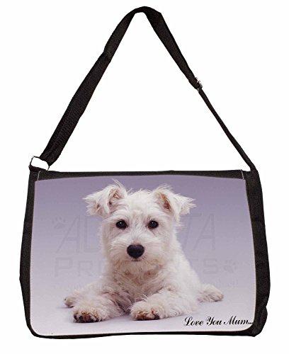 Westie Love You Mum Large 16 Black School Laptop Shoulder Bag
