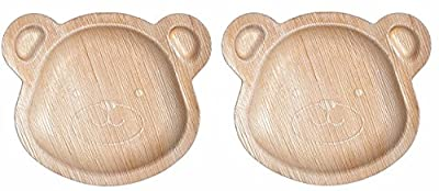 """CaterEco Kids Teddy Bear Palm Leaf Plates Set 
