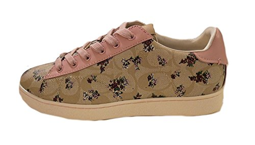 Coach C126 Low Top Floral Print Sneaker FG1891 KH/PK Size 8.5 New In The Box bngv1RP