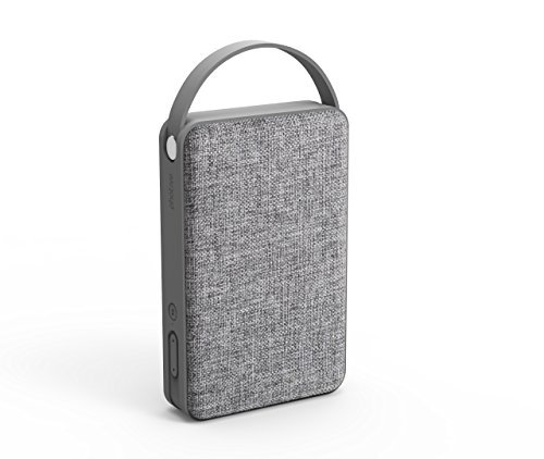 Photive Tone Portable Bluetooth Speaker. 10 Watt Bluetooth Wireless Speakers, Passive Sub Woofer, Luxurious Fabric and 8 Hour Battery-Grey by Photive