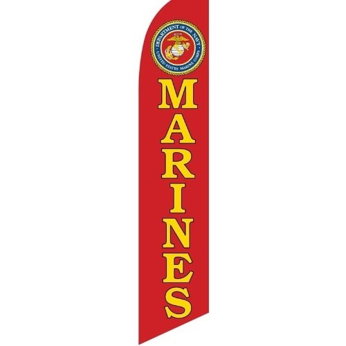 Swooper Flag w/ Pole & Spike Kit USMC Marine Corps Offical Seal