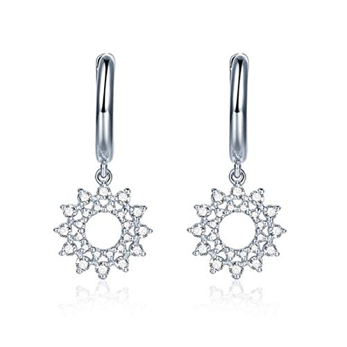Carleen 14k Solid White Gold Dangle Flower Sun Diamond Hoop Earrings For Women Girls (0.31cttw, I-J Color, SI2 Clarity)
