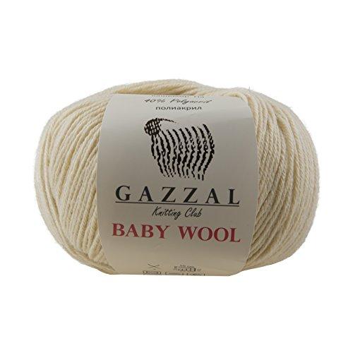 Ball Wool 50 Yarn Gram (5 PACK - Gazzal Baby Wool 1.76 Oz (50g) / 218 Yards (200m) Fine Baby Yarn, 40% Lana Merino, 20% Cashmere Type Polyamide; (Beige - 829))