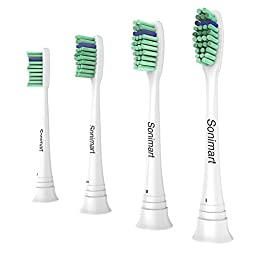 Sonimart Premium Replacement Toothbrush Heads for Philips Sonicare ProResults, 4 pack, fit Essence+, Plaque Control, Gum Health, DiamondClean, FlexCare, HealthyWhite and EasyClean