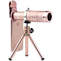 Telephoto Lens 18X Manual Focus Optical Zoom Telescope Camera Lens Kit with Flexible Tripod and Clamp for Mobile Phone (Rose Gold)