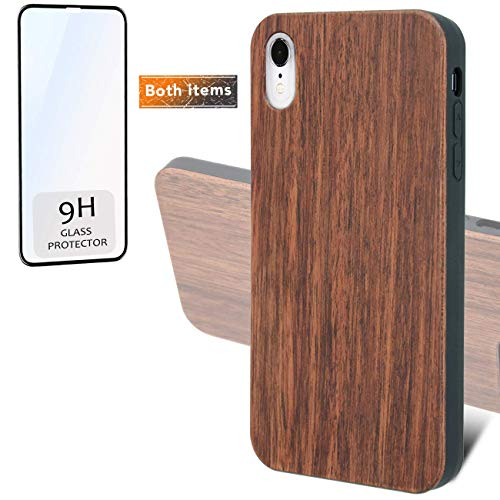 iProductsUS Real Wood Phone Case Compatible with iPhone Xs MAX and Screen Protector, Blank Dark Cherry Case, Built-in Metal Plate,Wireless Charging Compatible,TPU Protective Cover (6.5 ()