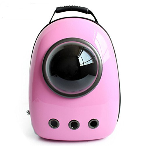 Fashion Shop Innovative Patent Bubble Pet Carriers Traveler Bubble Backpack Pet Carrier for Cats and Dogs Both the Mesh and the Bubble Cover Dogie Supply Pet Bag Airline Travel Approved Carrier (Pink)