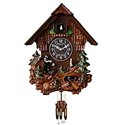 Sinix SN804 Handcrafted Antique Wooden Cuckoo Pendulum Wall Clock, Brown