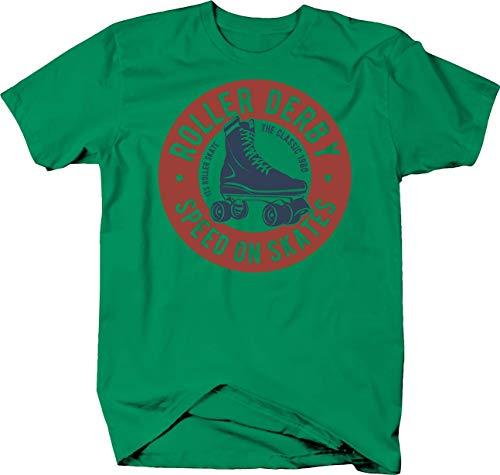 Roller Derby Speed on Skates The Classic 1980 Round Emblem Tshirt 2XL Kelly Green