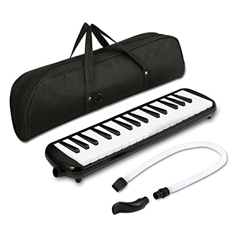Melodica instrument - NASUM 32 Key Piano Style Melodica,Melodica keyboard Suitable for Teaching and Playing,with Carrying Case (Black)