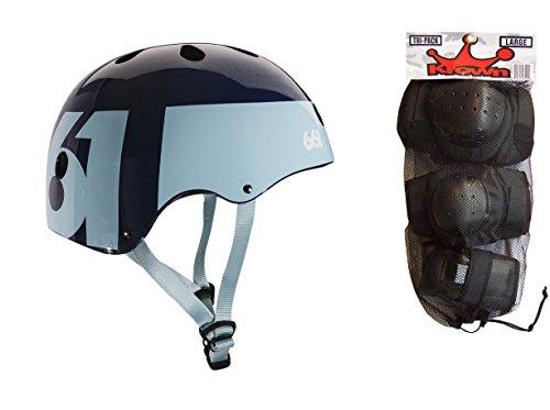 661 Dirt Lid Skate BMX Helmet Blue CPSC with Knee Elbow Wrist Pads Large