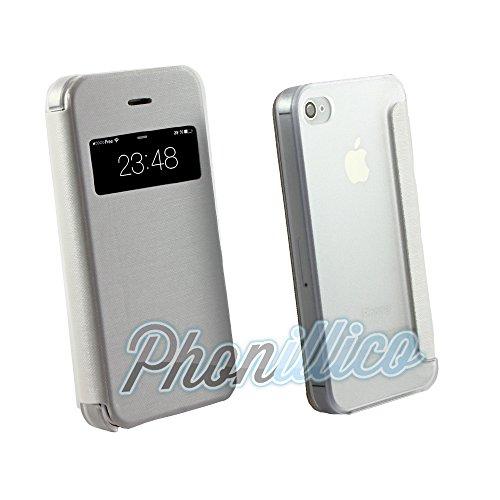Phonillico® Coque Flip Cover View Blanc pour Apple iPhone 4 / 4S - Coque Housse Etui Case Protection Rabat Fenetre Window View Ultra Slim