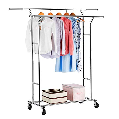 (LANGRIA Double Rail Garment Racks Clothes Racks Commercial Grade Height Adjustable Heavy Duty Clothing Racks for Boutiques)