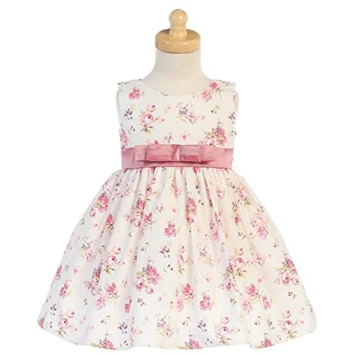 ce15c4d7d Lito Girls Dusty Rose Cotton Floral Easter Spring Dress with Bow (2T ...