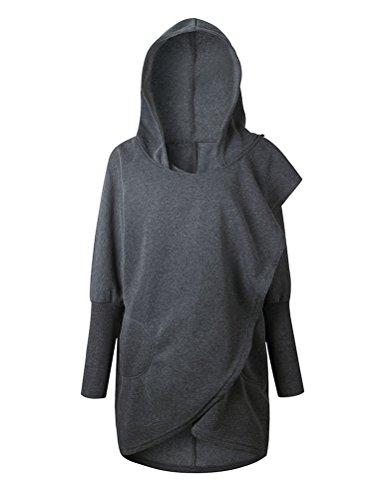WLLW Women Long Sleeve Hooded Asymmetric Hem Wrap Hoodie Sweatshirt Tops Blouse