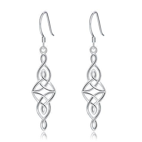 Sterling Silver Celtic Knot Ring - Dangle Earrings, Sterling Silver Good Luck Irish Celtic Knot Drop Earrings for Women Girls