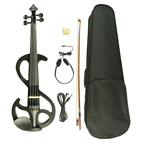Naomi Violin 4/4 Electric Violin W/Carrying Case & Accessories +CASE+BOW-Black Violin S Type