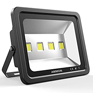 AMMON LED Flood Light, 200W Outdoor Waterproof IP65 20000lm Super Bright Flood Lamp Cool White 6000K Spotlight Lamp Daylight for Garden Yard, Party, Playground(black-200watt)
