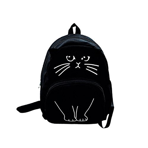 Yicai 3D Cat Printing Backpack Women Canvas Large Capacity School Bag (V-tech Gadget)