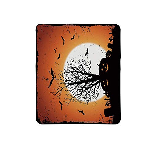 Vintage Halloween Non Slip Mouse Pad,Grunge Halloween Image with Eerie Atmosphere Graveyard Bats Pumpkins for Home & Office,11