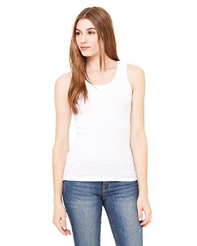 Bella + Canvas Ladies 2x1 Rib Tank - WHITE - L - (Style # 4000 - Original Label)