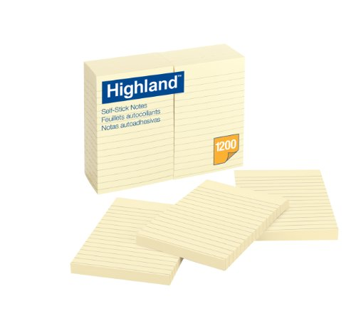 Highland Notes, 4 x 6-Inches, Yellow, 100 Sheets per pad, 12-Pads/Pack, (6609) by Highland