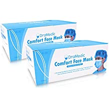 DraMedic 100 Masks in 2 Boxes DraMedic Disposable Earloop Face Mask-Dental, Surgical, Medical, Allergy, Pollen, Antiviral, Flu, Cleaning, Painting, Mouth, Cover, Travel, Dust, Germ, Cough, Doctor