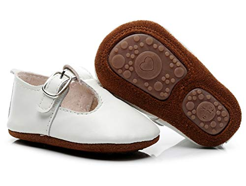 Bebila T-Bars Baby Mary Janes - Genuine Leather Baby Moccasins Shoes with T-Strap Rubber Sole Toddler Boys Girls Summer Sandals (12-18Months/6.5 M US Toddler/13.5cm, - Genuine Shoes Leather Baby