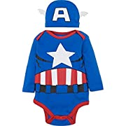 Marvel Captain America Baby Boys' Costume Long Sleeve Bodysuit and Cap Set Blue, 0-3 Months