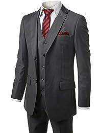 Hombre Modern Fit 3-Piece Suit Blazer chamarra Tux pantalones y chaleco