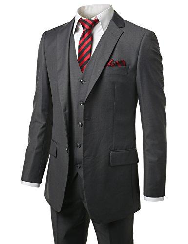 MONDAYSUIT Men Modern Fit 3Piece Suit Blazer Jacket Tux Vest Trouser CHR-64L 60W