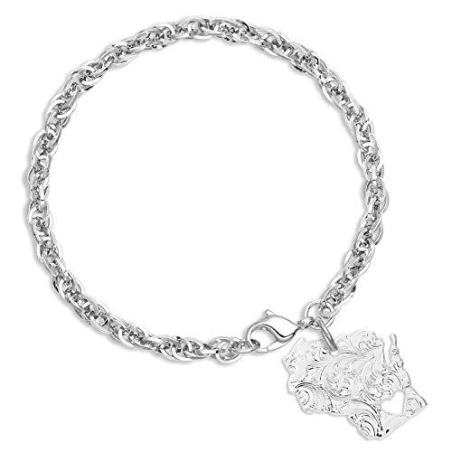 Montana Silversmiths I Heart Wisconsin State Charm Bracelet