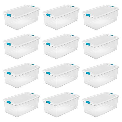 Sterilite 1499 106-Quart Clear Latching Stacking Storage Box, 12 Pack by Sterilite