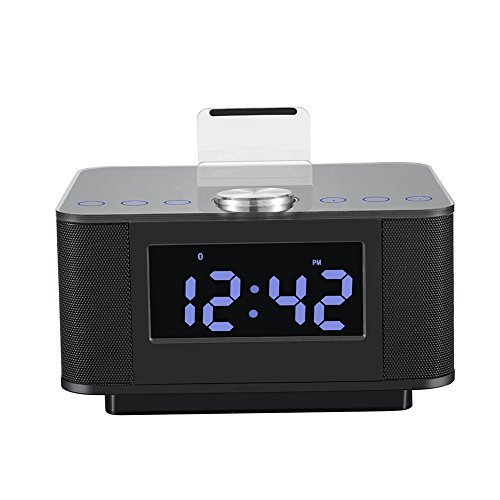 Diamondo H7 Dual USB Speaker Docking Station Bluetooth V2.1+EDR Alarm Clock Dock (A)